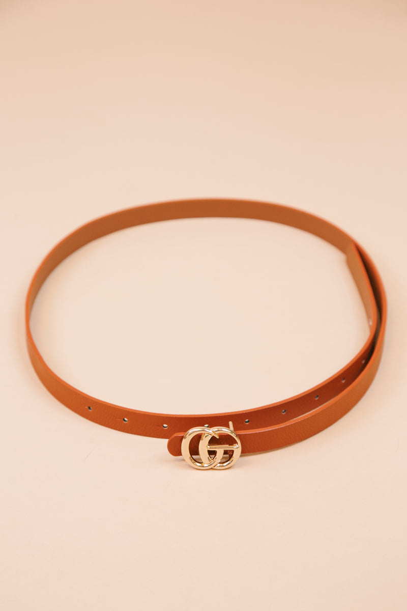 Faux Leather Skinny Belt with Small Gold Buckle, Cognac