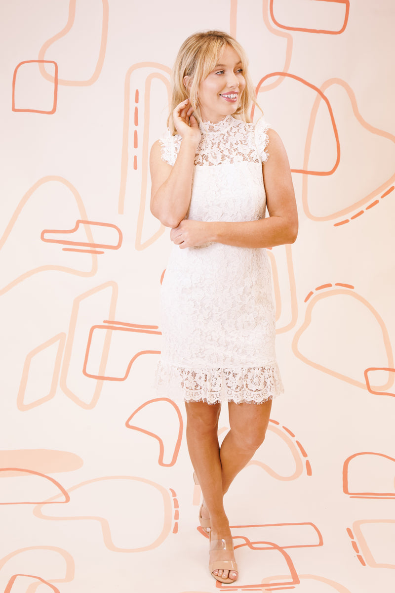 Hannah Lace High Neck Dress, White