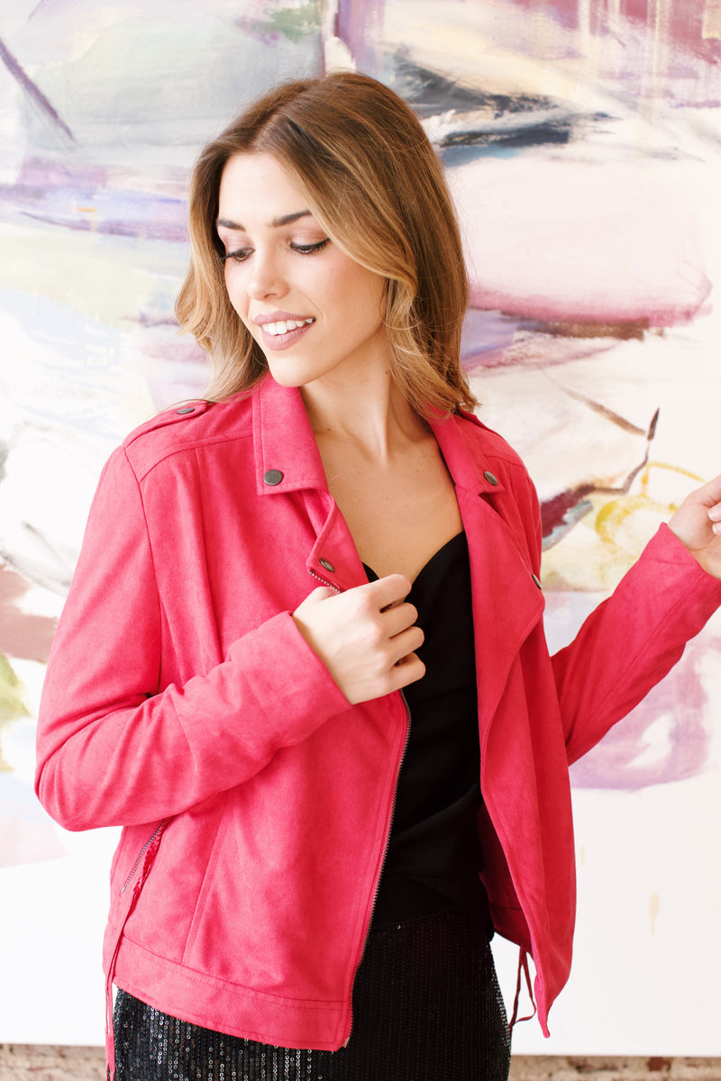 Swimming In '99 Elli Moto Suede Jacket, Fuchsia