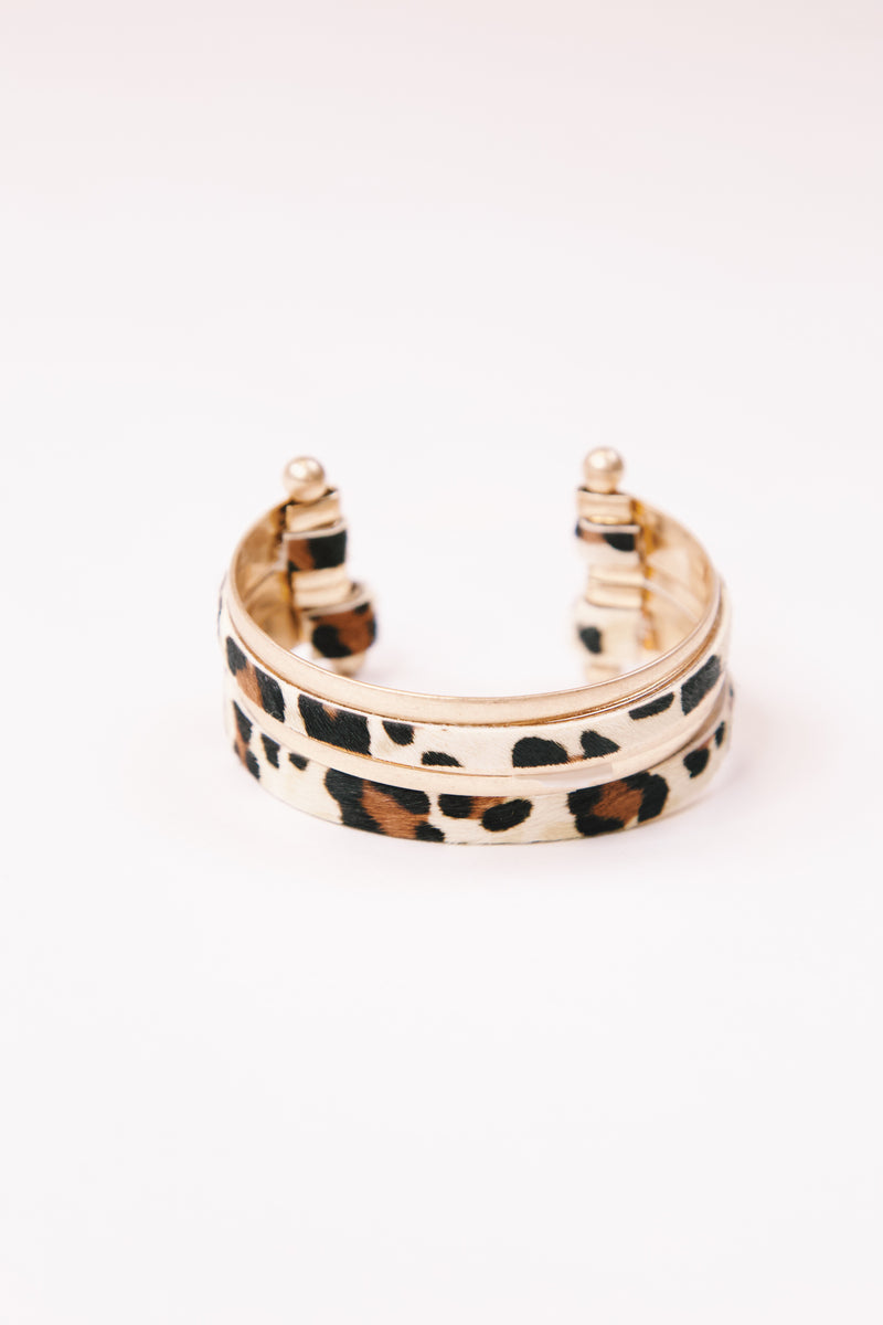 Cunningham Metal and Animal Print Cuff Bracelet, Ivory Leo