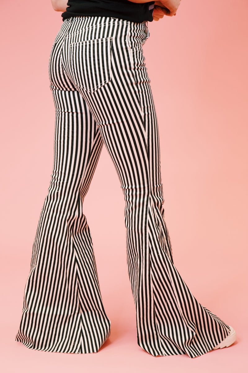 Lydia Striped Bell Bottoms, Black/White
