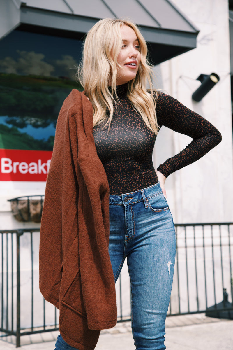 Americano Soft Knit Boyfriend Blazer, Rust Brown