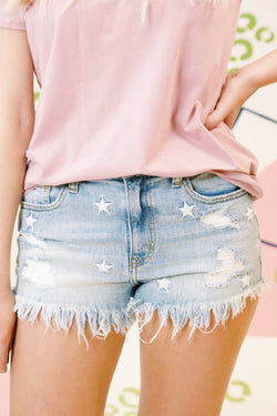 Lulu High Rise Cut-Off Short With Stars, Solar Wind Light