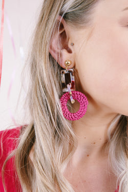 Resin & Rattan Earring, Pink