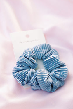 Far Away Pleated Scrunchie, Blue Grey