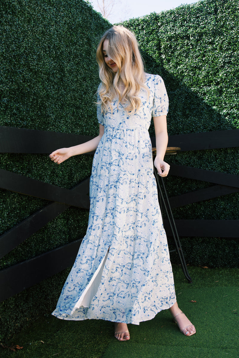 Jayla Paisley Printed Maxi Dress, White/Blue