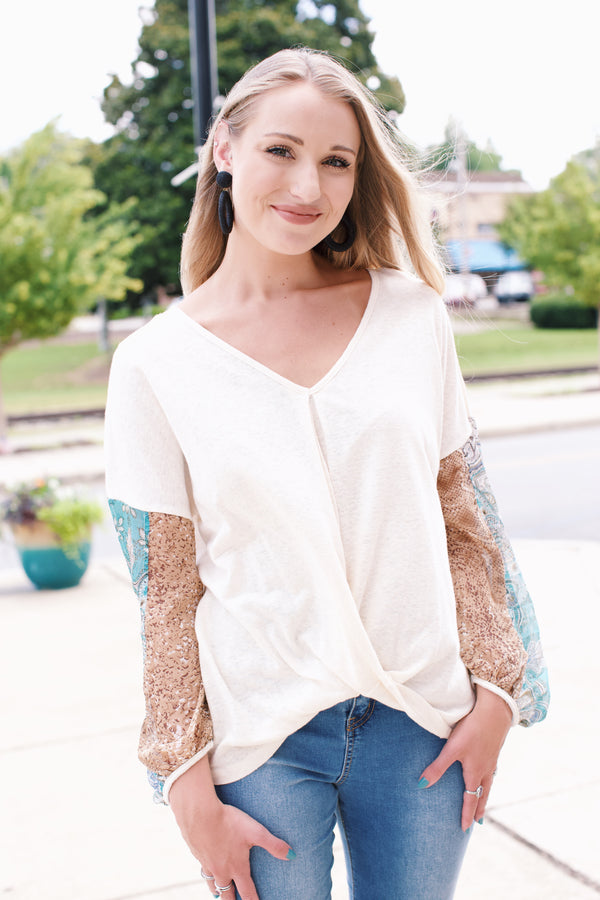 Mixed Print Chiffon Sleeve Cotton Top, Cream