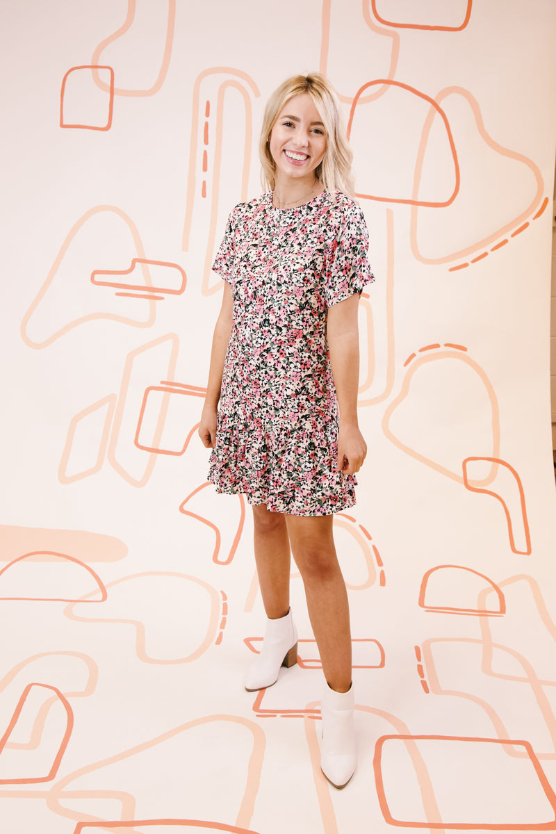 Make Your Move Floral Mini Dress with Ruffle Hem, Pink Multi | MINKPINK