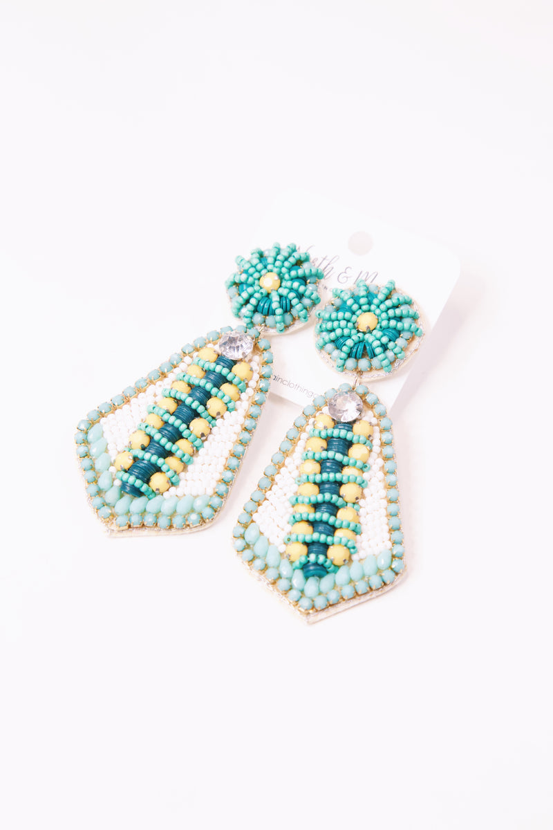 Wally Seed Beaded & Stone Embellished Post Earring, Aqua