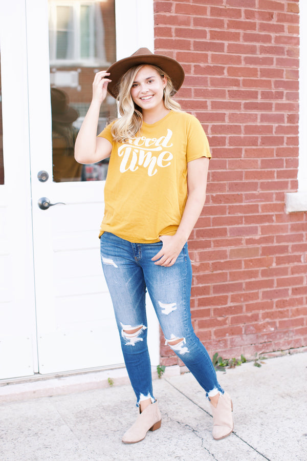 Good Time Graphic Tee, Mustard