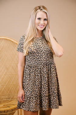 A Wild One Dress, Taupe Leopard