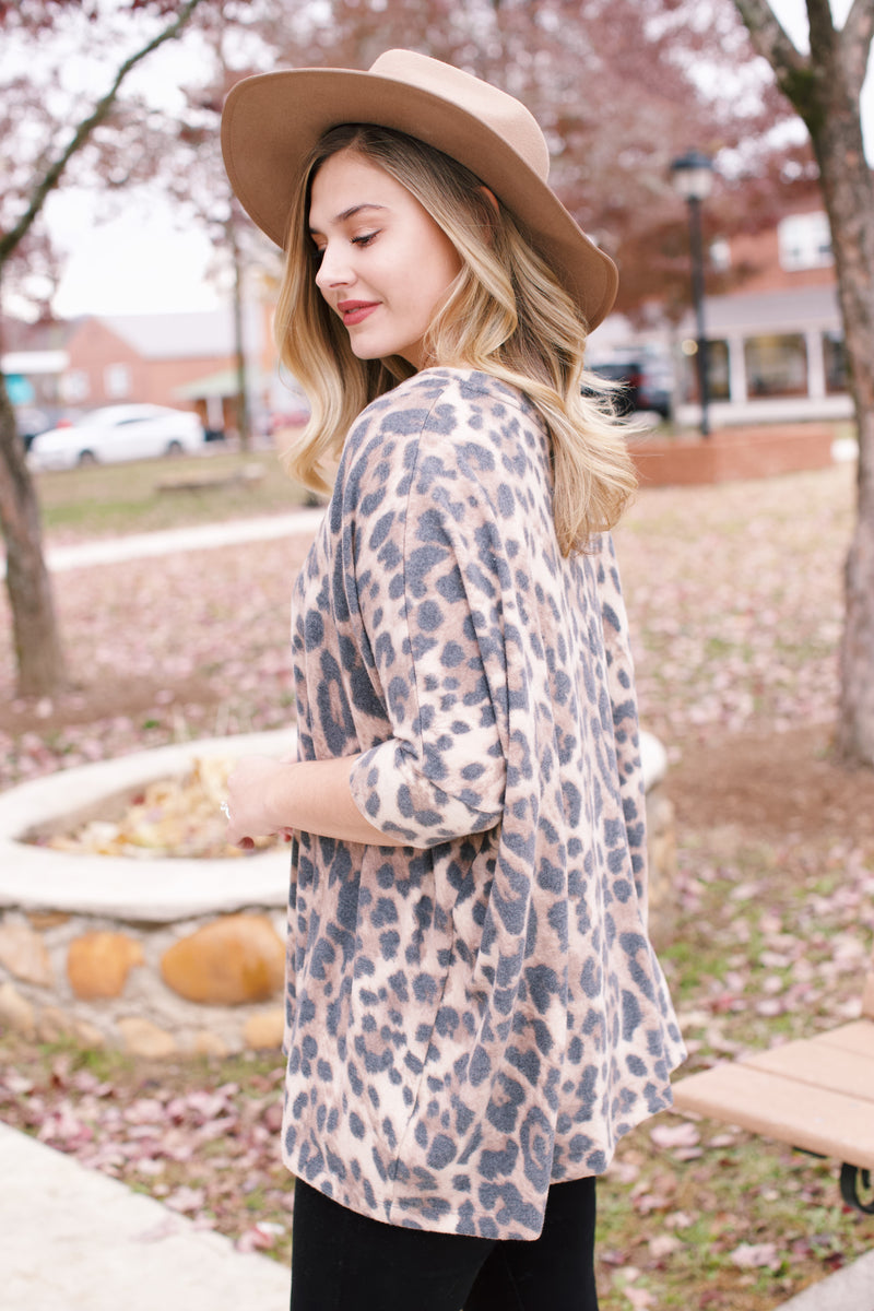 Nyssa Brushed Knit Leopard Top, Brown Leopard