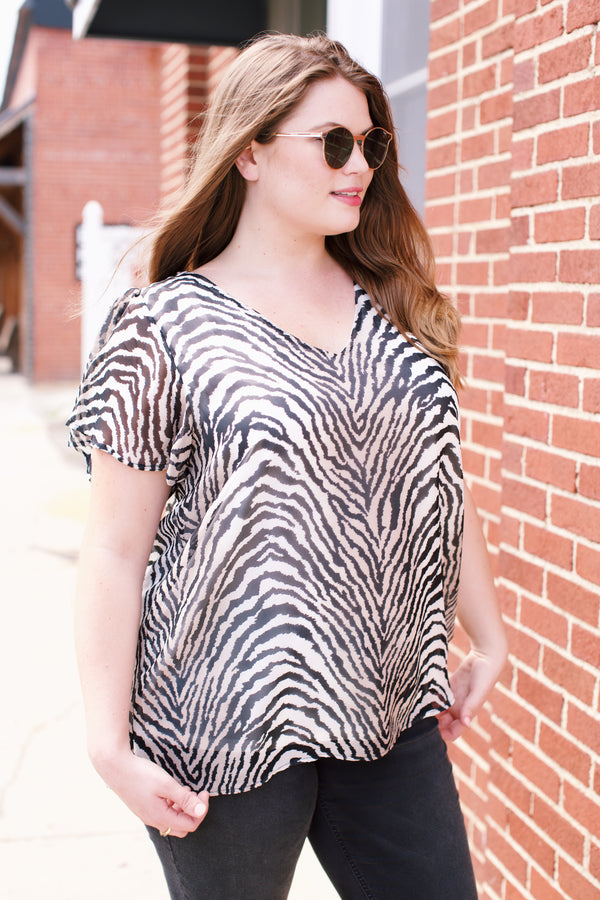 Zebra Flutter Sleeve Top | Plus Size