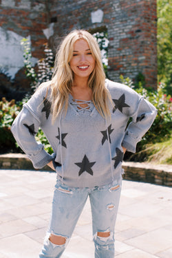 Give It A Try Star Lace Up Sweater, Grey/Charcoal