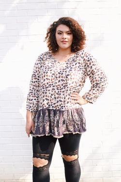 Hands of Gold Printed Top, Ivory Multi | Plus Size