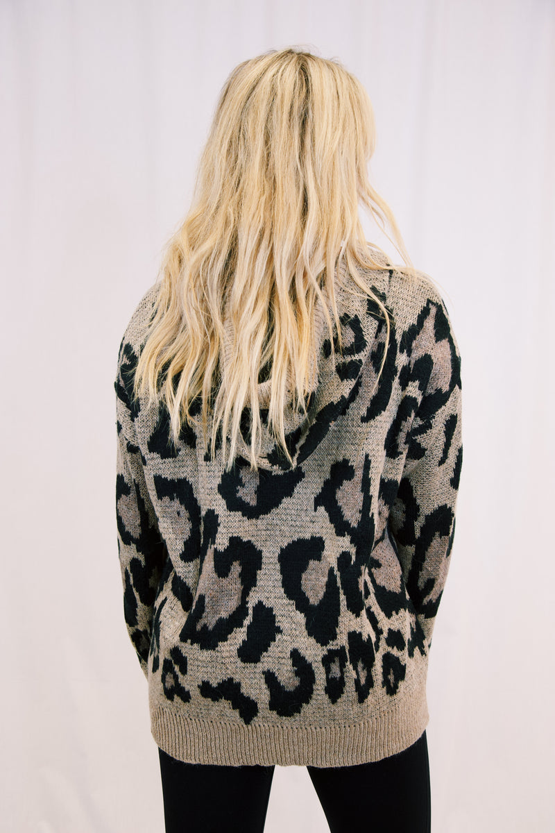 If You Want Me Leopard Hoodie Sweater, Taupe Leopard