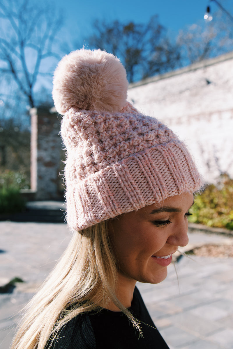 Lost Valley Eyelash Knit Beanie, Blush