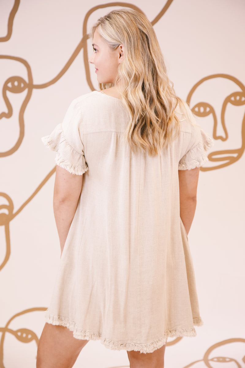 Let Me Adore You Fray Hem Linen Dress, Oatmeal | Extended Sizes Available