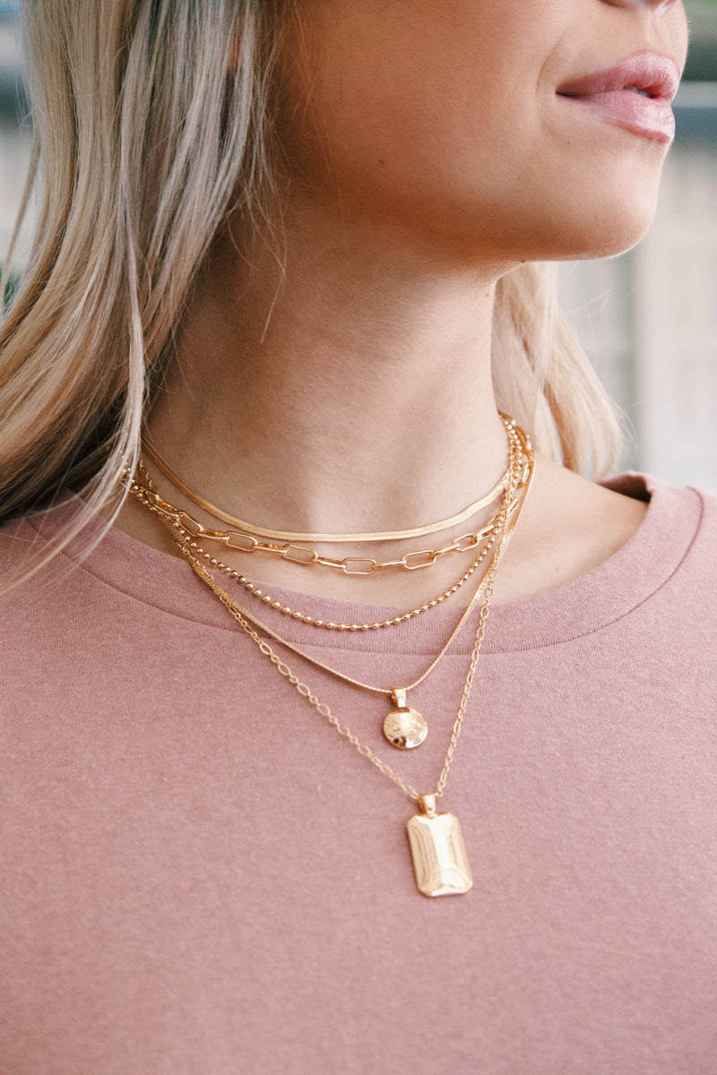 Moore Multi Layered Chain Necklace, Gold