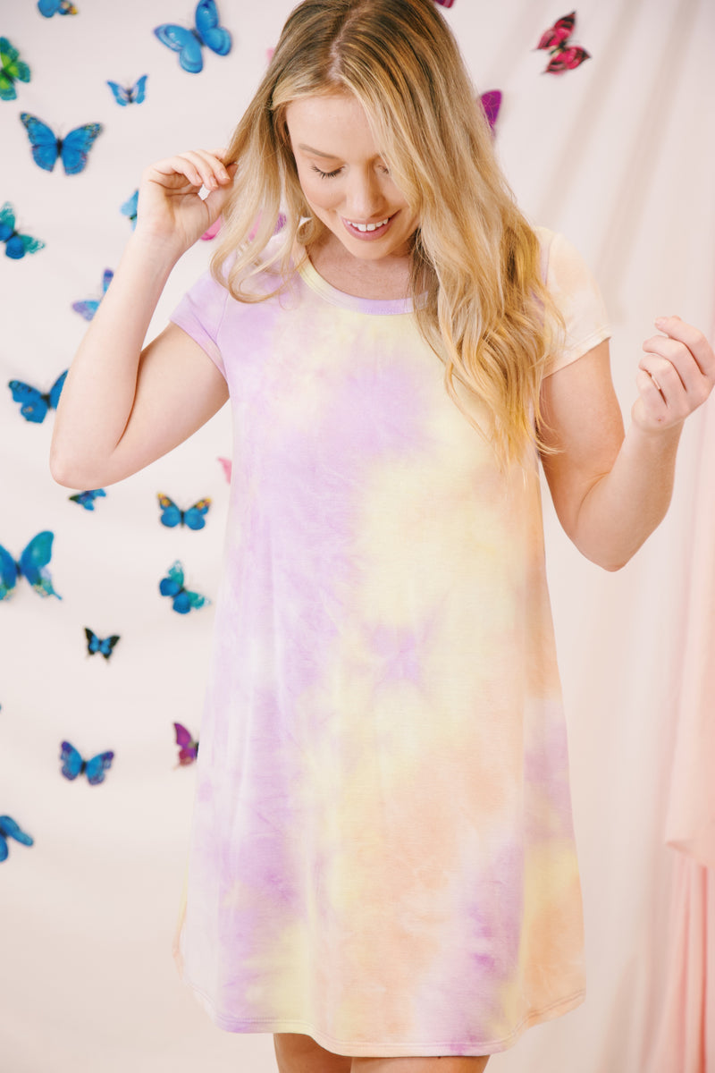 Walk Away Tie Dye Dress, Purple/Yellow