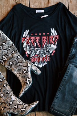 Free Bird America Graphic Tee, Black | Plus Size