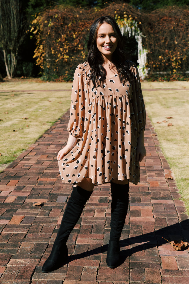 Ivey Puff Sleeve Babydoll Dress, Taupe Leopard | Extended Sizes Available