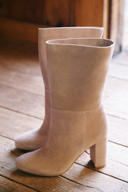 Keep Up Suede Mid Calf Boot, Taupe | Chinese Laundry