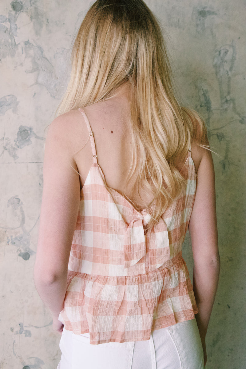 Cianna Gingham Peplum Top, Blush/Natural