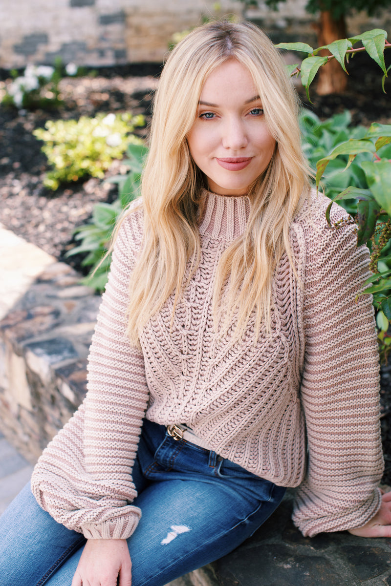 Sweetheart Sweater Chunky Knit, Sand Castle | Free People