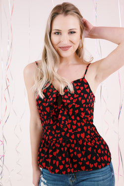 Girl Crush Heart Print Cami Top, Black/Red