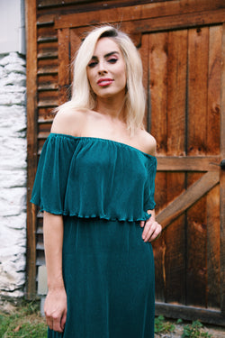 Carlyle Pleated Maxi Dress, Hunter Green