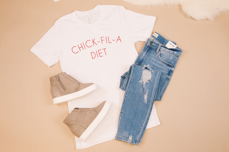 Chick Fil A Diet Graphic Tee, White | Extended Sizes Available