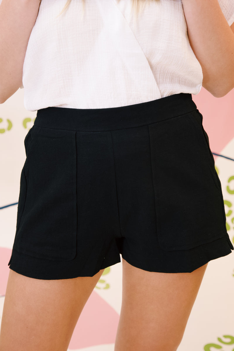 High Rise Woven Short, Black