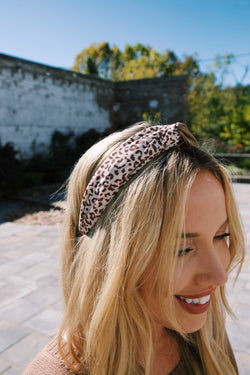Delaney Faux Leather Leopard Headband, Camel