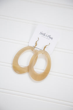 Resin Cut Out Oval Earrings, Natural