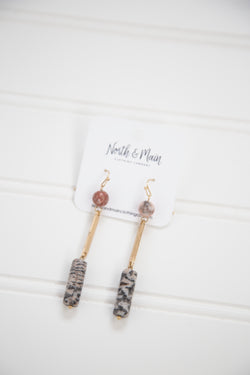 Cylinder Drop Earring, Grey Multi