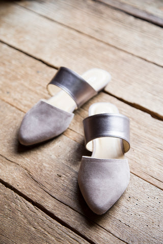 Enya Suede Slide, Taupe Pewter | Chinese Laundry