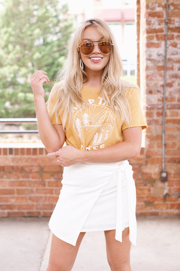 Road Trip Please Graphic Tee, Mustard