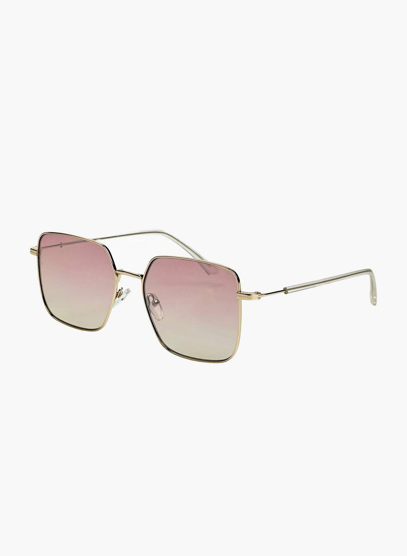Roadie Oversized Sunglasses, Gold | Otra