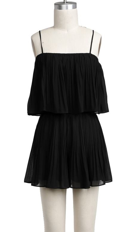 These Good Things Pleated Romper, Black