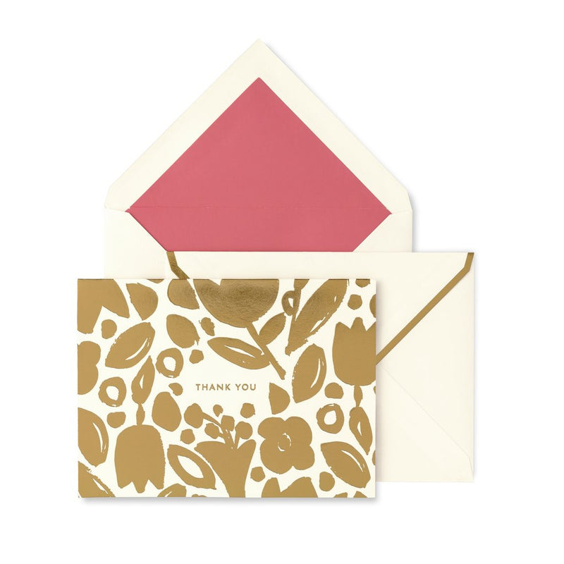 Thank You Card Set, Golden Floral | kate spade new york
