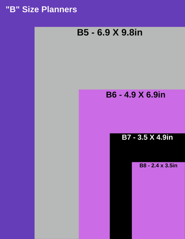 """""""B"""" Size Planner comparison to letter size sheet of paper."""