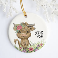 Floral Highland Cow Personalized Ornament
