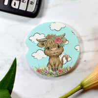 Floral Highland Cow Sandstone Cup Holder Coaster