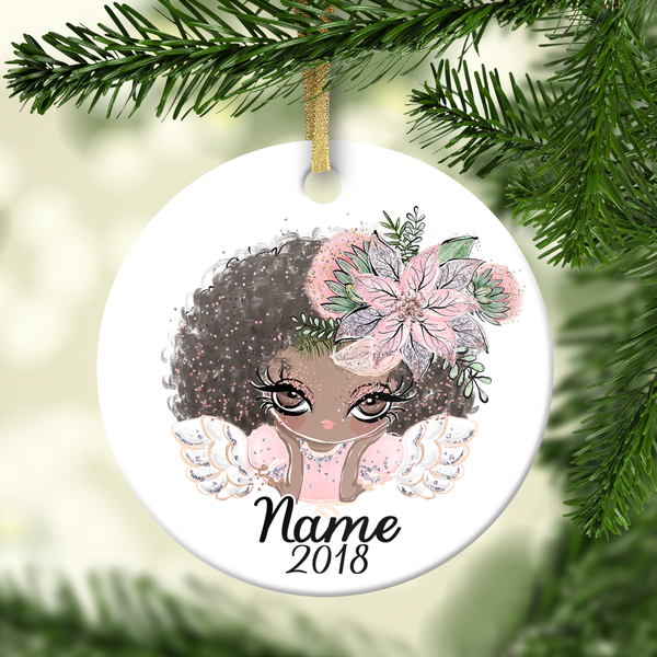 Angel with Brown Hair Personalized Ornament