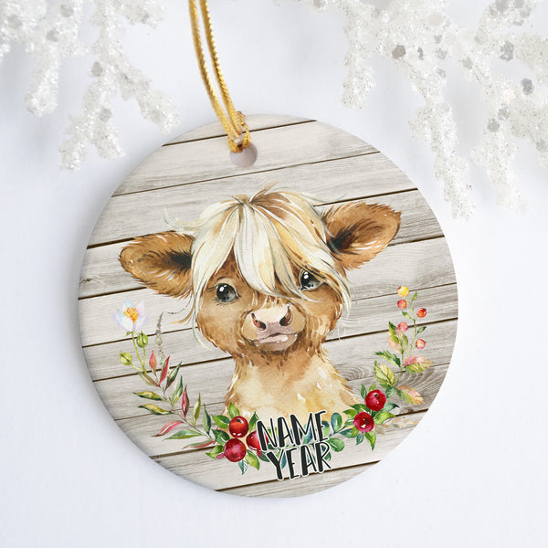 Highland Cow Personalized Ornament