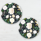 Dark Autumn Watercolor Floral Sandstone Car Coaster