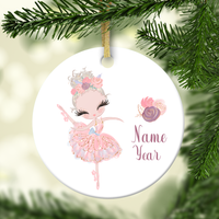 Ballerina With Blonde Hair Personalized Ornament