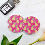 Pineapples Sandstone Car Coaster