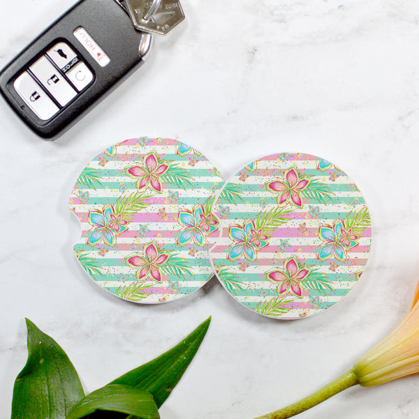 Tropical Floral Stripe Sandstone Car Coaster